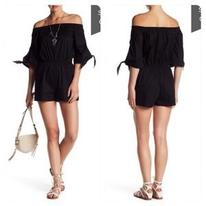New! Love...Ady Off-the-Shoulder Tie Sleeve Romper